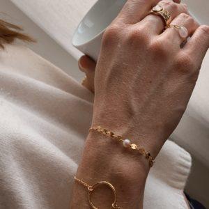 Bracelet perle rose et sequins