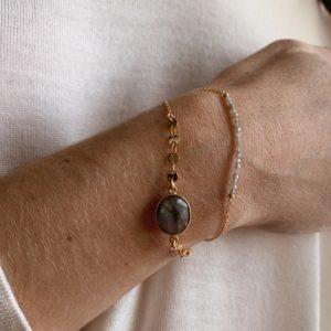 Bracelet onyx et sequins