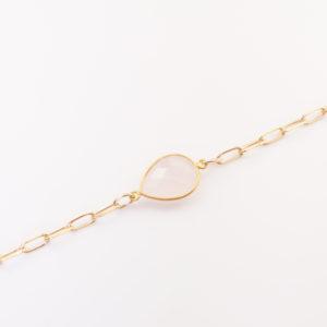 Bracelet quartz rose, grosse maille