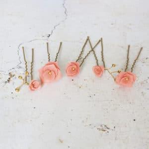 Epingles à chignon  fleurs de porcelaine pêche