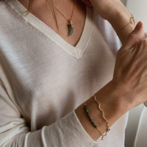 Bracelet or et  pierre