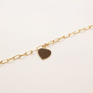 Bracelet chaine, gros coeur