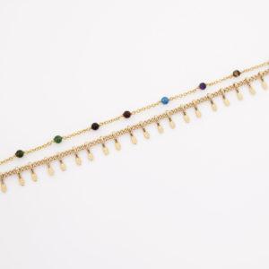 Bracelet double chaine perlée agate