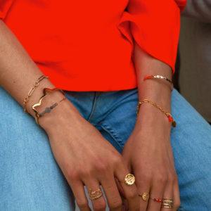 Bracelet grosses mailles alternées