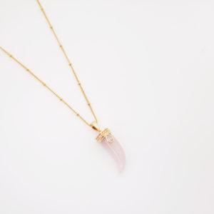 Collier corne pierre quartz rose