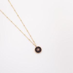 Collier médaille étoile noire