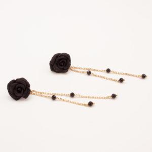 Boucles fleurs noires et chaine