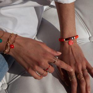 Bracelet soleil émaillé orange fluo