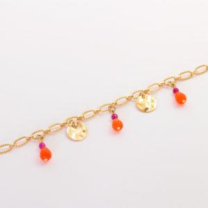 Bracelet chaine et pampilles oranges