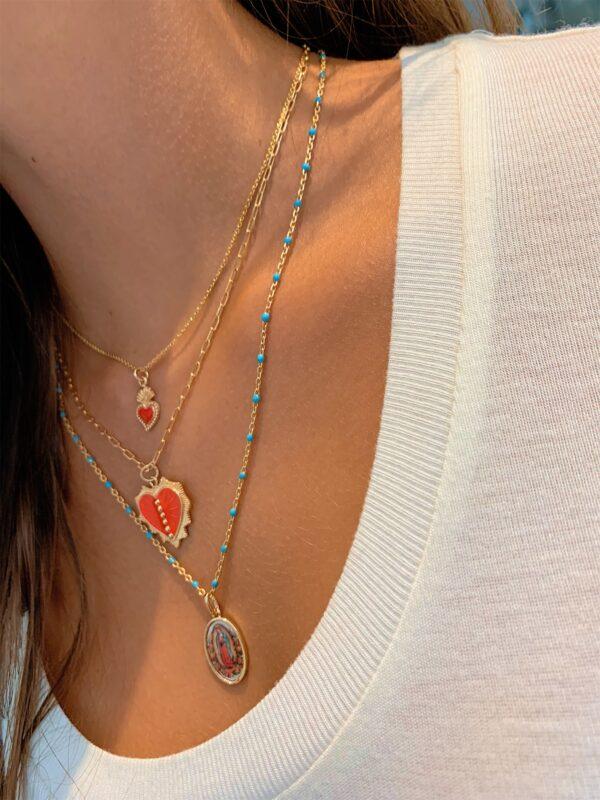 collier coeur émaillé rouge
