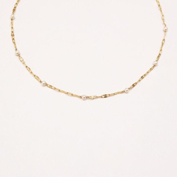 Collier mailles soleil et perles de culture