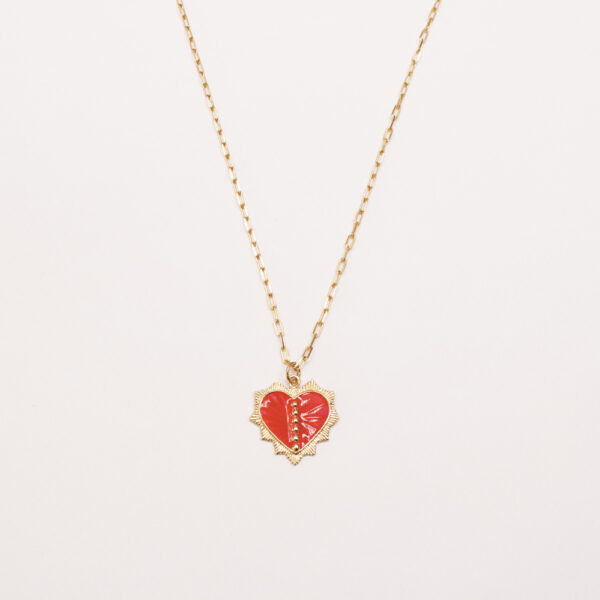 collier coeur emaille rouge